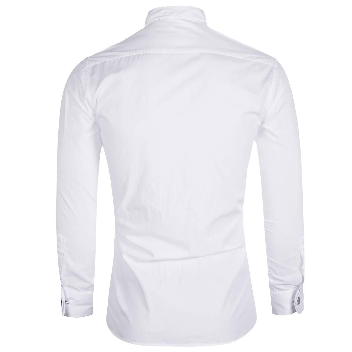 Sliktaa Camicia Elegante da Uomo Camicia da Smoking Smoking da Cerimonia Nuziale Camicia da Collo Pieghettata Pieghettata