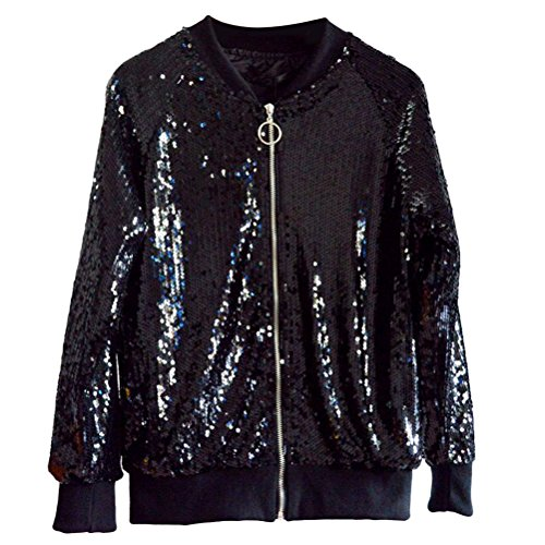 Girls Black Zhhlinyuan Jacket Sequined Classic de mujer Baseball for Retro ropa Long Sleeve Zip Jackets Outerwear Women Hermosa 7q7TF8r