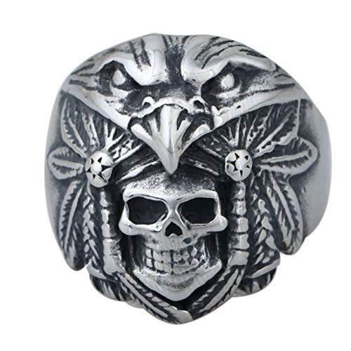 Zovivi Vintage Eagle & Indian Chief Antique Real Stainless Steel Mens Ring