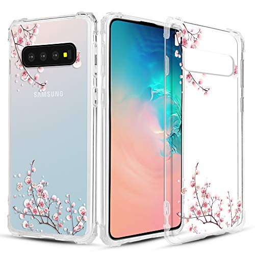 Caka Clear Case for Galaxy S10 Clear Floral Case Flower Pattern Floral Series Slim Girly Anti Scratch Excellent Grip Premium Clarity TPU Crystal Case for Samsung Galaxy S10 (Plum Flower)