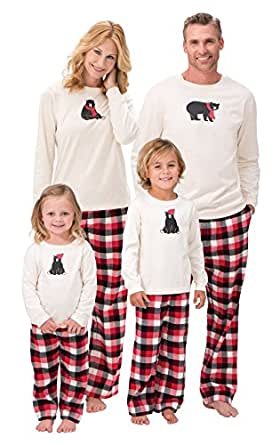 PajamaGram Flannel HiBEARnate Matching Family Pajamas, Toddler 5T, Red/Black
