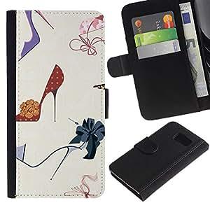 For Samsung Galaxy S6 SM-G920,S-type® Fashion Stiletto Woman Pastel - Dibujo PU billetera de cuero Funda Case Caso de la piel de la bolsa protectora
