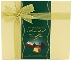 Helen Grace Chocolates, Sugar-Free Assorted Milk & Dark Chocolate Truffles, 8 oz. Gift Box