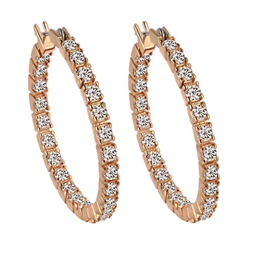 Lood Women's Earrings Studs, White Sapphire Crystal Gold Filled Round Earrings Hoop Jewelry for Women (Gold)