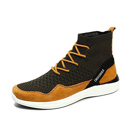 Four Paws Vita Greens (RAINSTAR Mens High Top Fashion Patchwork Sneaker Breathable Sport Walking Shoe Green Yellow 7)