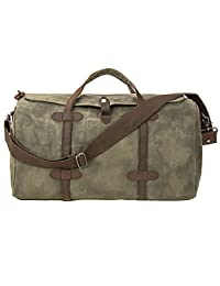 Peacechaos Leather Canvas Travel Luggage Duffle Bag, Gym, Vacation Weekend Bags (Army Green)