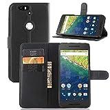 "For Huawei Nexus 6P Case , ivencase Fashion Litchi Texture Magnetic Wallet Stand PU Leather Card Slot Flip Cover Slim Fit Huawei Google Nexus 6P 5.7"" Black + One ""ivencase"" Anti-dust Plug Stopper"
