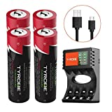 AAA Cordless Phone Battery, Tyrone AAA Rechargeable Batteries for Cordless Phone, Solar Lights Outdoor, Scale, Surface Pen [ 1.2V 850mAh NiMH ][ High-Capacity ] (AAA 4-Pack with Charger)
