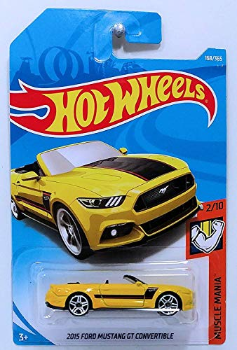 Hot Wheels 2018 50th Anniversary Muscle Mania 2015 Ford Mustang GT Convertible 168/365, Yellow ()