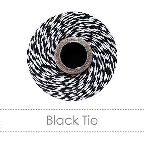 Luna Bazaar 12-Ply Baker's Twine Ribbon (110 Yards, Black Tie Striped, 100% Cotton)