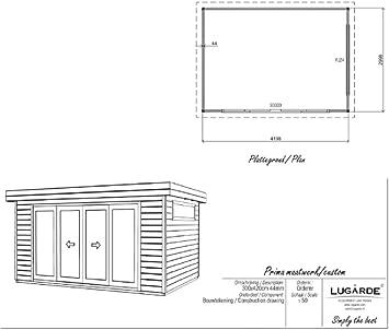 Lugarde Amira - Caseta de jardín (madera de abeto, con puerta corredera de cristal y techo plano): Amazon.es: Jardín