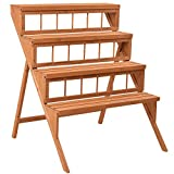 Wood Plant Stand Flower Pot Holder Display Shelves Rack Stand Ladder Step 4 Tier
