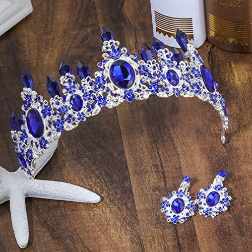 (Blue Green Red Crystal Bridal Tiara Crowns Magnificent Rhinestone Diadem For Princess Headpiece Wedding Hair Accessories Silver Navy)