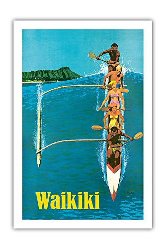Waikiki - Outrigger Canoe Surfing - United Air Lines - Vintage Hawaiian Travel Poster by Stan Galli c.1960 - Premium 290gsm Giclée Art Print - 24in x ()