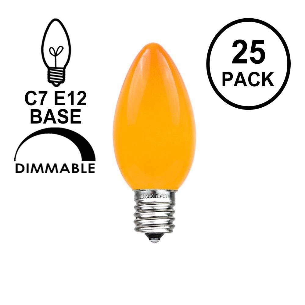 Novelty Lights 25 Pack C7 Outdoor String Light Ceramic Christmas Replacement Bulbs, Orange, C7/E12 Candelabra Base, 5 Watt
