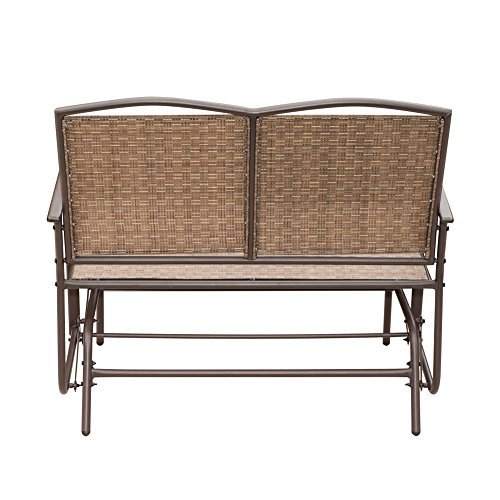 Sunlife Outdoor Indoor Glider Loveseat Set Rattan Resin Wicker Patio Bench Furniture Double For