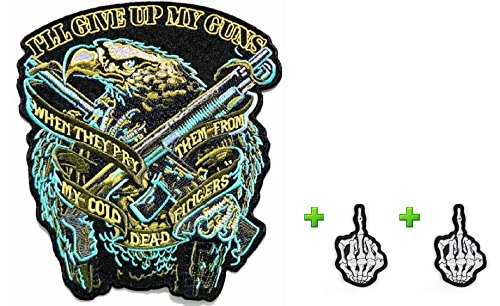 Best Match! Worth!! Large of Eagle w/ Guns & Small of Alcohol Fueled Skull ArtCool Embroidered Patches Badge Look Cool Embroidery Iron-on Sew Craft for Biker Trucker Rocker Chopper Jacket by Indy Patch