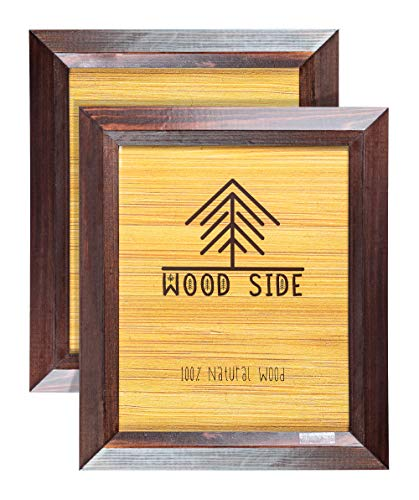 4x6 Wooden Picture Frames Brown - Pack of 2 - Rustic Design - Made of Solid Wood Finish Beveled Profile with Real Glass for Wall Mounting and Tabletop Photo Frame - Gallery Cherry Solid Wood