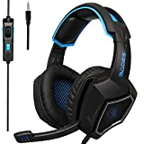 2018 Latest Version PS4 Headphones,Sades SA920PLUS 3.5mm Stereo Bass Gaming Headset with Microphone for New Xbox one PS4 PC Laptop Mac Newest Xbox ONE/360(Black Blue)