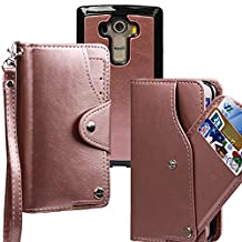 xhorizon TM FLR [Upgrade] [Detachable] [Separable] 2 in 1 Top Notch Bifold Leather Magnetic Car Mount Phone Holder Compatible Lanyard Wallet Case for LG G4 (Rose-gold)