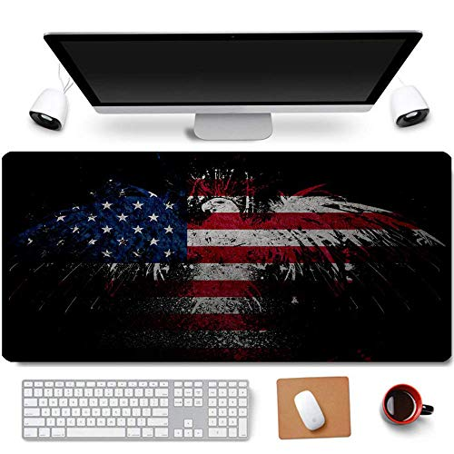 31.5×11.8 Inch Cool US Patriotic Bald Eagle American Flag Non-Slip Rubber Extended Large Gaming Mouse Pad with Stitched Edges Computer Keyboard Mouse Mat PC Accessories (10-American Flag Eagle)