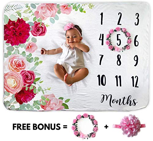 Fleece Organic (Baby Monthly Milestone Blanket | Includes Floral Wreath & Headband | 1 to 12 Months | 100% Organic Fleece Extra Soft | Best Baby Shower Gift | Photography Backdrop Photo Prop for Newborn | Baby Girl)