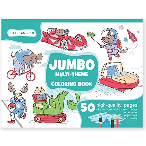 Jumbo Coloring Book for Kids Ages 4-8: 50 Coloring Pages - Giant Coloring Books for Kids and Toddlers - Coloring Pad for Boys Girls - Huge Coloring Book - Big - Coloring Pad Book