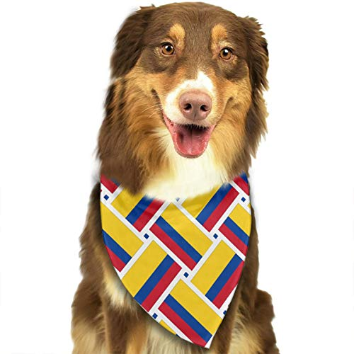 TLDRZD Dog Bandana Colombia Flag Weave Printed Pet Triangle Scarf Festive Accessory for Puppies