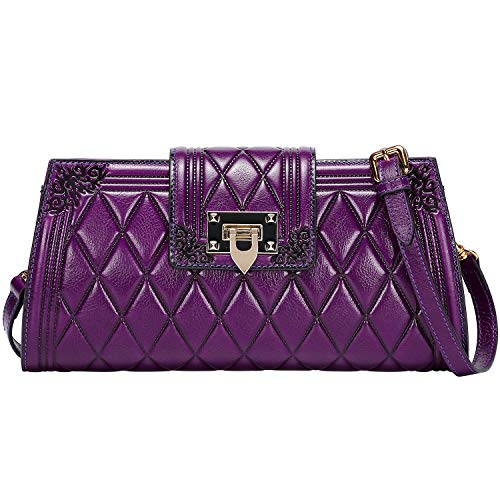(PIJUSHI Clutch Handbag For Women Designer Chain Shoulder Purses Quilted Cross Body Bag (99873 Violet))
