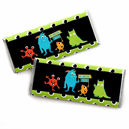 Monster Bash - Candy Bar Wrapper Little Monster Birthday Party or Baby Shower Favors - Set of 24 ()