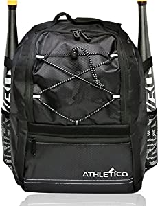 Athletico Youth Baseball Bat Bag - Backpack for Baseball, T-Ball & Softball Equipment & Gear for Boys & Girls | Holds Bat, Helmet, Glove | Fence Hook