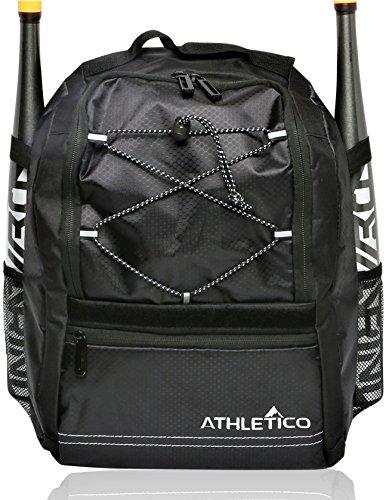 Athletico Youth Baseball Bat Bag - Backpack for Baseball, T-Ball & Softball Equipment & Gear for Boys & Girls | Holds Bat, Helmet, Glove | Fence Hook (Black)