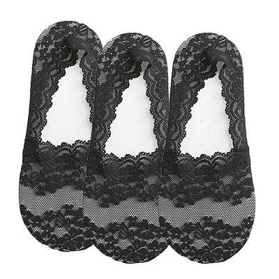 Maivasyy 3 paires de chaussettes Vêtements d'été en coton léger à faible section Invisible Silicone Anti-dérapant hauts talons bas dentelle, noir