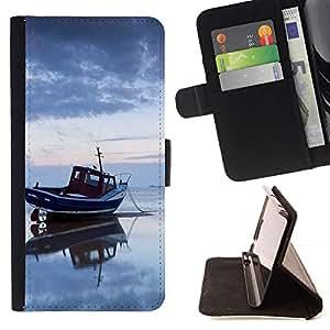 For Samsung Galaxy E5 E500 Case , Naturaleza Mar Barco- la tarjeta de Crédito Slots PU Funda de cuero Monedero caso cubierta de piel