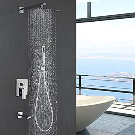 HIMARK Luxury Rain Shower Systems Wall Mounted Shower Combo Set With High  Pressure 10 Inch Square