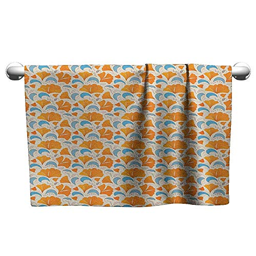 xixiBO Printed Bath Towel Super Dry W39 x L10 Leaves,Modern Floral Elements with Artistic Design Romantic Blossoms Petals, Orange Blue and Beige Oversized Bath Towel