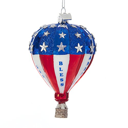 Kurt Adler Noble Gems Patriotic Hot Air Balloon Glass Ornament