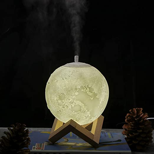 Sunsbell 3D LED Moon Night Light, Air Humidifier with Diffuser Aroma Essential Oil USB Ultrasonic Humidificador for Helping Sleep Long lasting