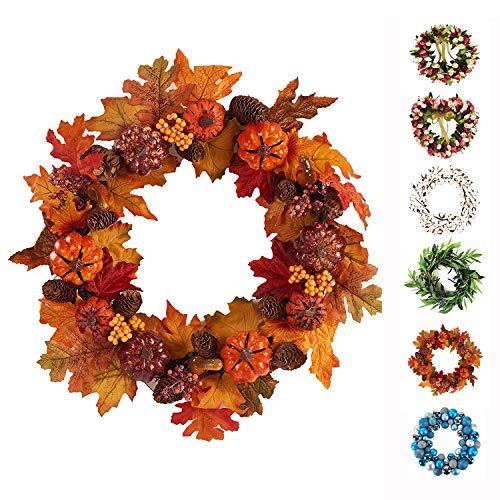 Baigio Woman Decormy 24inch Pumpkin Harvest Wreath Silk Front Door Wreath Decor (24inch, Pumpkin) -