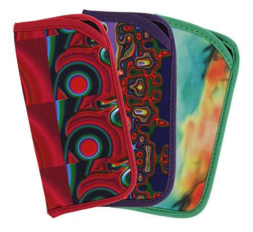 3 Pack Soft Slip In Eyeglass Case For Women & Men, Colorful Psychedelic - Funky Case Glasses