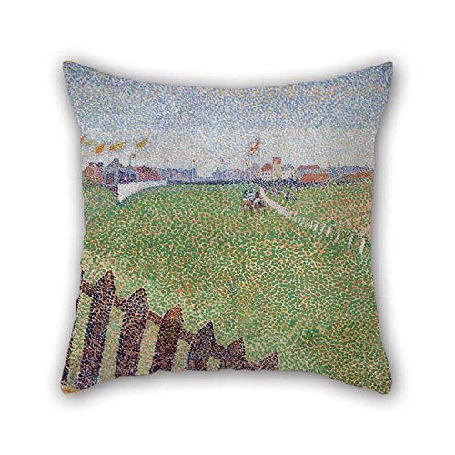 Pillowcover Of Oil Painting Alfred William Finch - The Wellington Racecourse In Drizzle (Ostende) 16 X 16 Inches / 40 By 40 Cm Best Fit For Monther Kids Room Festival - U Wellington Fit