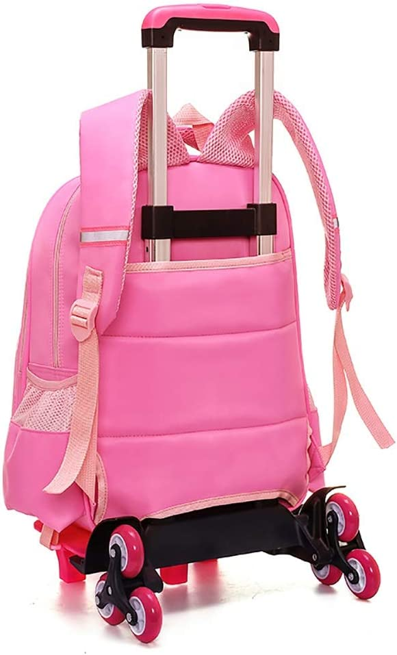 Color : Pink, Size : Free Size Techecho Bookbags Primary School Student Trolley Bag Six Rounds Climbing Stairs Backpack Girl Burden Reduction Bag for Girls Boys