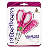 scissors to cut baby food - BiteSizers Portable Food Scissors with Cover - Certified Food-Safe by NSF, Stainless Steel, Cuts Baby Food (Pink Bubbles)