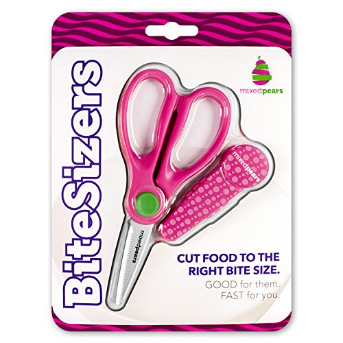 (BiteSizers Portable Food Scissors with Cover - Certified Food-Safe by NSF, Stainless Steel, Cuts Baby Food (Pink Bubbles))