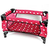 The New York Doll Collection Doll Fold n' Store Pack N' Play - Doll Play Yard with Cute Hearts Design