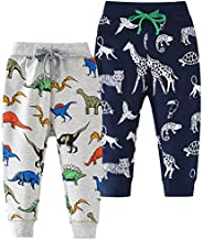 Azalquat Toddler Boys Cotton Jogging Pants, Pull-On Cartoon Picture Sweatpants(1-Pack or 2-Pack)