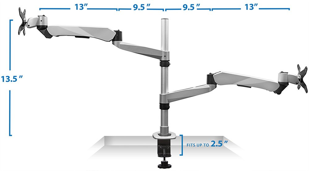 Mount-It! MI-75816 Full Motion Articulating, Tilting, Adjustable Height, Rotating, Swiveling Arm Mount for LCD, LED, and Computer Monitor Displays with Single Arm Vented Cooling Fan Stand for Laptops, Tablets, and Notebooks, C-clamp, Silver by Mount-It! (Image #7)