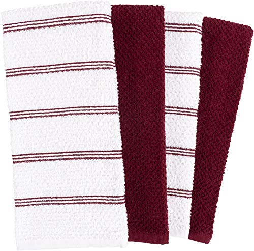 KAF Home Pantry Piedmont Kitchen Towels (Set of 8, 16x26 inches), 100% Cotton, Ultra Absorbent Terry Towels - Wine Red by KAF Home (Image #4)
