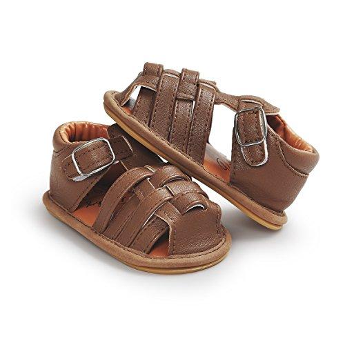 Itaar Baby Boy sandalias de rayas de verano Piel Sintética Suela de Goma Antideslizante Primera–Zapatos de Senderismo blanco blanco Talla:6-12 meses marrón