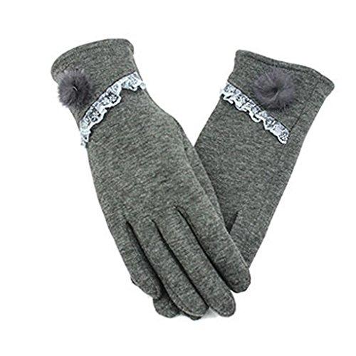 c.a.zレディーススタイリッシュキュートタッチスクリーン冬暖かい手首手袋ミトンフリース裏地